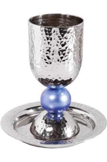 Yair Emanuel Silvered Kiddush Cup and Plate Blue