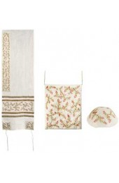 Embroidered Raw Silk Women Tallit – Pomegranates Gold