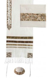 Embroidered Raw Silk Tallit - Magen David Gold