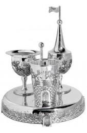 Havdalah set Jerusalem design - Pewter