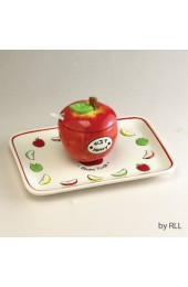 Ceramic Apple Honey Dish Set with Tray and Spoon