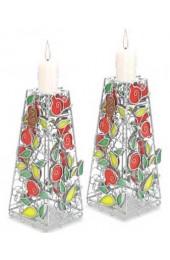Pomegranate Candlesticks, Pair