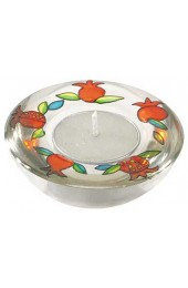 Glass Candle Holder With Pomegrante Design