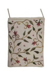 White Embroidered Bag With Flowers