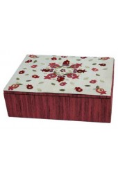 Red Embroidered Jewelry Box With Pomegranate Design
