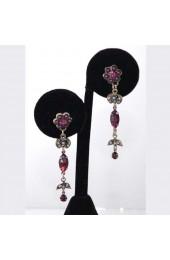 Purple & Silver Stone Israeli Earrings