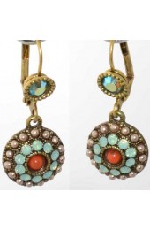 Israeli Earrings With Round Cluster Of Stones