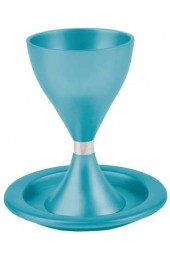 Anodize Aluminum Kiddush Cup and Plate - Turquoise