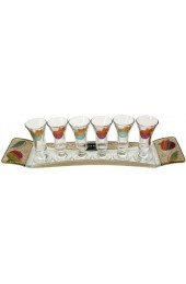 Lily Art 6 Cup Glass Liquor Set and Tray - Rainbow Pomegranate Theme