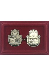 Hamsa Tallit Clip Set with Jerusalem and Old City Scenery