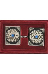 Square Star of David Tallit Clips with Floral Patterns and Blue Stone