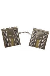 Metal Tallit Clips with Block Design and Temple Depiction