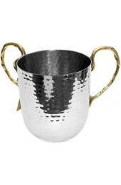 Stainless Steel Wash Cup w/Gold Handles
