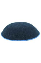 Black Knitted Kippah with Blue Border