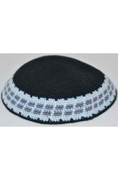 Black Border Design Knitted Kippah