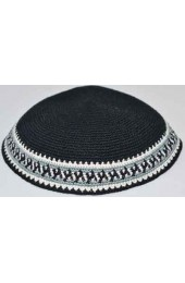 Black Knitted Kippah with Border Design