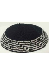 Black and White Knitted Kippah
