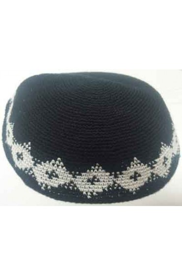 Black Knitted Kippah With White Diamond Pattern