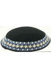 Black Knitted Kippah with Blue and White Border