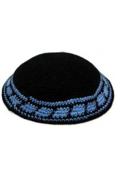Black Knitted Kippah with Blue Stripe